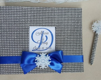 Snowflake Guest Book Set (Wedding, Shower, Birthday, Anniversary, Etc) - Rhinestone Winter Wonderland - Guestbook Snow Frozen Pen Scrapbook