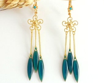 Filigree earrings with svarowski and pendants