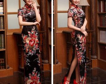 New Arrival Fashion SILKLIKE Vintage Short Sleeve Women Dress Long Design Female CHEONGSAMS plus size