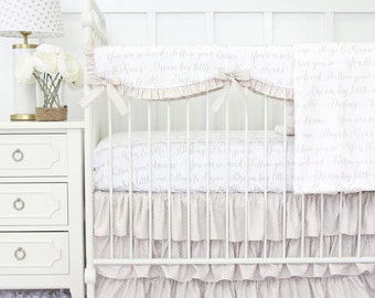 Vintage Lace Ruffle Designer Baby Bedding | Gender Neutral Crib Set | Taupe and White Love Letters Collection | Taupe & White Teething Guard