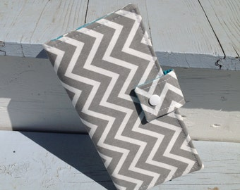 Bifold Wallet - Grey chevron and teal women's wallet card holder, change pouch, zipper pockets