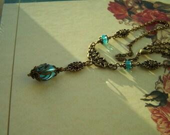 Vintage Style Necklace Aqua Blue