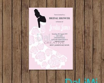 5 x 7 Elegant Bride Bridal Shower Invitation - Pink Printable Invitation - Bridal Invitation!