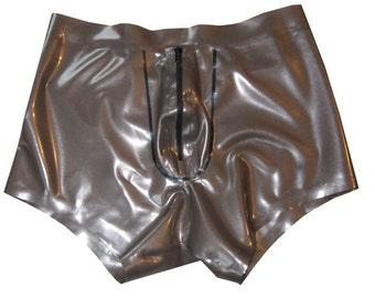 Latex/rubber/gummi | Men's boxer shorts | Zipper up front | XS S M L XL