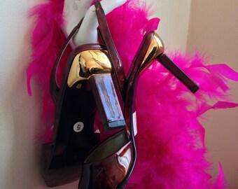 Vtg 90's ROLAND CARTIER brown leather square heels sling back shoes UK5/EUR38/US7