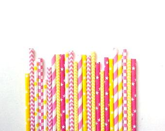 25 Strawberry lemonade colours Paper Straws