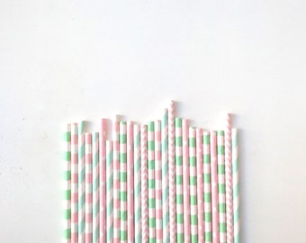 25 Pink, Blue and Mint pastel colours Paper Straws