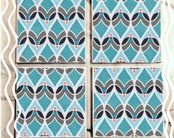 Teal Teardrop Tile Coasters