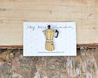 Illustrated stove top coffee pot brooch/pin - Yellow
