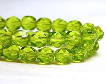 6mm Lime Green Firepolish Czech Beads, Green Beads, Olivine Beads, Olivine Crystal Beads, Green Crystal Beads, Green Faceted Beads, D-B22