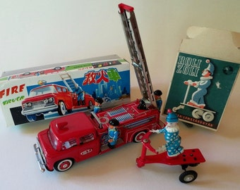 Vintage Friction and Wind Up Tin Fire Truck and Roli Zoli Clown