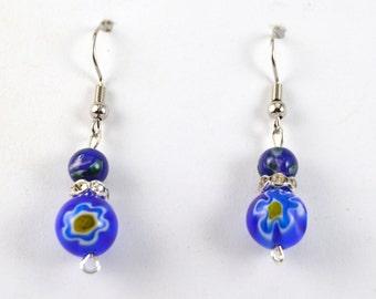 Blue psychedelic bead earrings
