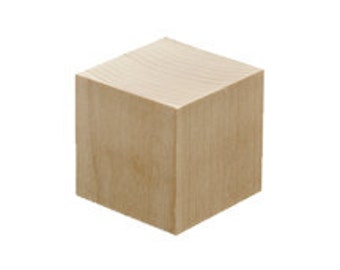 Unfinished Wooden Blocks for DIY or Baby Shower Gift - Solid Cube Square 2 inch Natural Unpainted Blocks Crafting Supply Set of 30   Box 30 