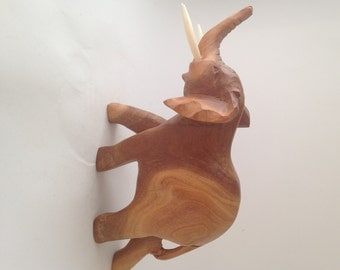 Wood Carved Elephant with Tusks, Handcrafted, Patterned Wood