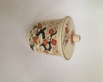 Asian Style Floral Cannister with Lid, Beige Kitchen Storage Container, Brown and Tan Sugar Bowl