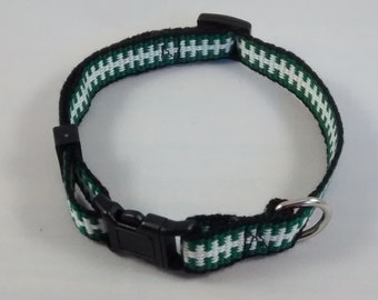 Handwoven adjustable cat collar with breakaway safety buckle - Forest green, white, and black; Optional tag