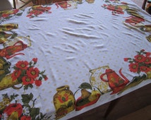 1970s printed cotton tablecloth