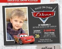 Disney Cards Photo Invitation. Lightning McQueen Photo Invitation. Cars Invitation Party Invite.Party Printables. Lighting McQueen Printable