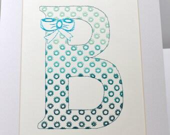 Monogramed letter B. Embroidered letter B