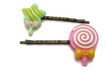 Sweets Bobby Pins Resin Candy Hair Pin Kawaii Bobby Pin Cosplay Kawaii Kei Hair Pins Gifts For Her Food Hair Pins Candy Bobby Pin
