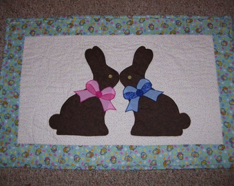 Easter bunny quilt-chocolate bunny quilt-candy quilt-spring quilt-machine quilted and appliqued