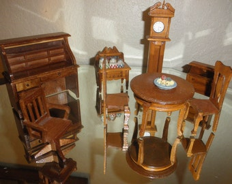 Dollhouse Furniture Seven Pieces made of Wood