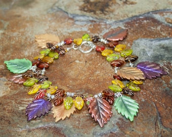 Double-Wrap Autumn/ Fall Bracelet.Czech Glass leaves and Polymer Clay Leaves Twice around The Wrist