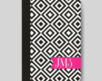 iPad Folio Case, iPad Air Case, iPad Air 2 Case, iPad 1 Case, iPad 2 Case, iPad 3 Case, iPad Mini 1 2 3 4 - Black White Pink Monogram Case