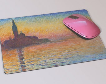 Fabric Mousepad, Mousemat, 5mm Black Rubber Base, 19 x 23 cm - Sunset in Venice by Twilight by Claude Monet Mousepad Mousemat