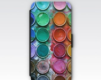 Folio Wallet Case for iPhone 8 Plus, iPhone 8, iPhone 7, iPhone 6 Plus, iPhone SE, iPhone 6, iPhone 5s  - Artist Paint Palette Case