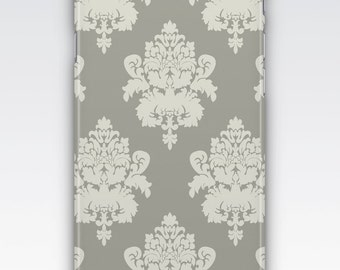 Case for iPhone 8, iPhone 6s,  iPhone 6 Plus,  iPhone 5s,  iPhone SE,  iPhone 5c,  iPhone 7  - White & Grey Damask Pattern iPhone