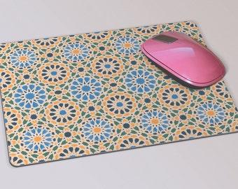 Fabric Mousepad, Mousemat, 5mm Black Rubber Base, 19 x 23 cm - Geometric Moroccan Mosaic Tiled Patterned Mousepad Mousemat