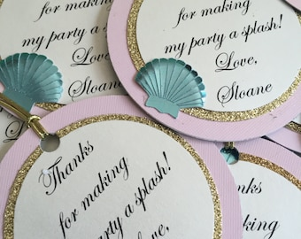 Mermaid thank you tags, under the sea favor tags, mermaid party