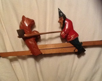 Slide toy. Russian bear and American Wizard. 1930