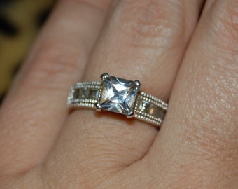 Vintage Princess Cut CZ 925 Sterling Milgrain Engagement Wedding Solitaire Ring #BKC-RNG25