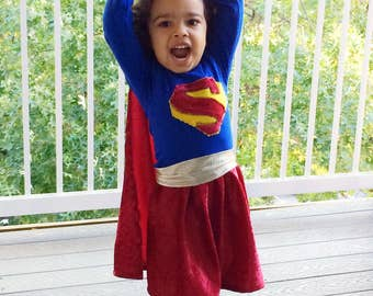 SuperGirl Halloween Costume // Girls Costumes //Dress up // Made to order