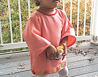 French terry cotton tangerine baby & toddler wide sleeve tunic • Made to order