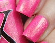 Go Through Fire - Neon Magenta Nail Polish with Gold Flakies, Pink Neon Nail Polish, Valentine's Day Nail Lacquer, Pink Flakie Polish