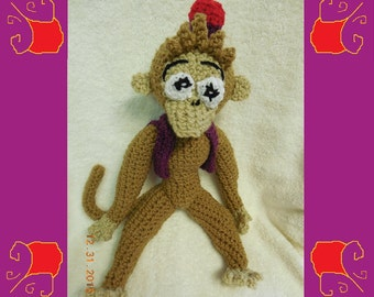 Crochet Plush Monkey Stuffed Animal Inspired By Abu From Disney Aladdin