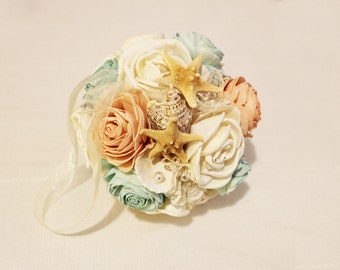 Wedding Kissing ball with sea shells and starfish  , Wedding Cream White Fabric Bouquet, Sola flowers