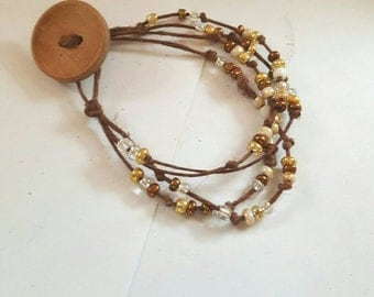 Hand knotted beaded bracelet-boho-hippie-gypsy wood button closure