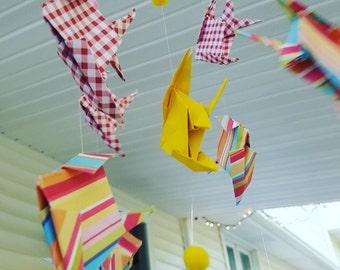 FISH MOBILE crib handmade nursery origami bedroom baby shower gift idea meditation yoga office
