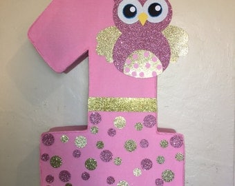 number owl pinata. Owl birthday party. owl party decoration.