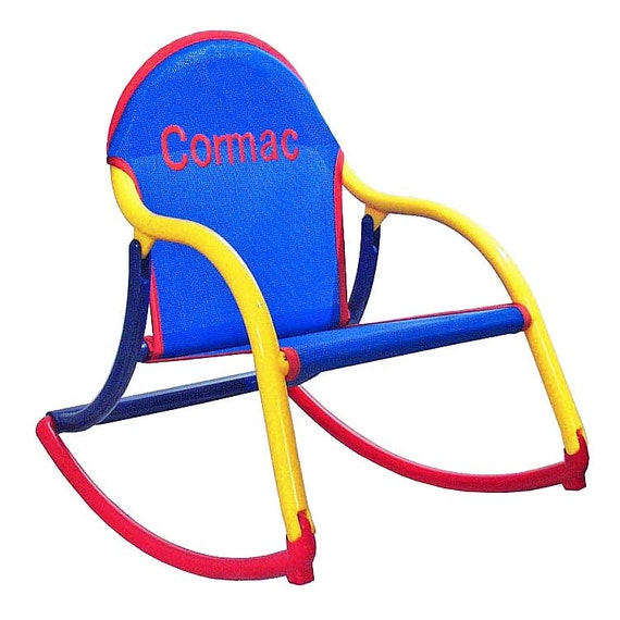 Personalized childrens rocking chair in blue mesh (outdoor furniture ...