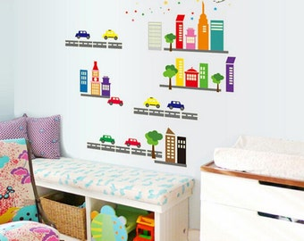 Glow in the dark wall decals - Cars & Buildings - AW9608