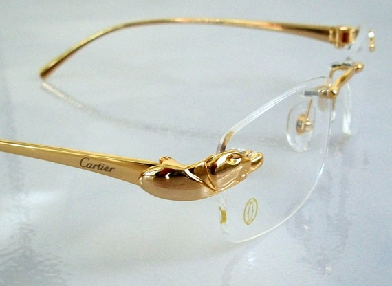 Gold Frame Rimless Glasses : Vintage style PANTHER Eyeglass Frame 18K by ...
