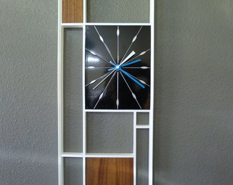 Mid Century Inspired White and Walnut and Black Geometric Wall Clock
