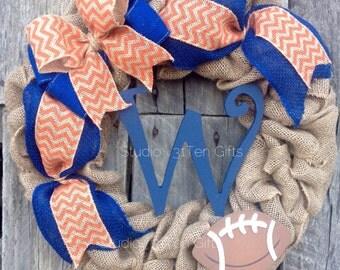 Tennessee Vols Wreath, UT wreath, Vols Football wreath, orange and white burlap wreath, Burlap Initial Wreath