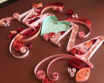 """Quilling wall art """"mom"""", quilled paper home decor"""