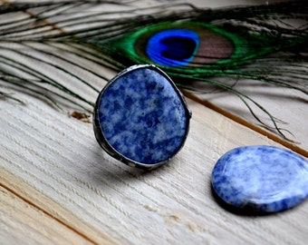 chunky sodalite one of a kind blue natural stone ring adjustable ring retro coctail ring rustic jewelry statement ring gypsy boho ring